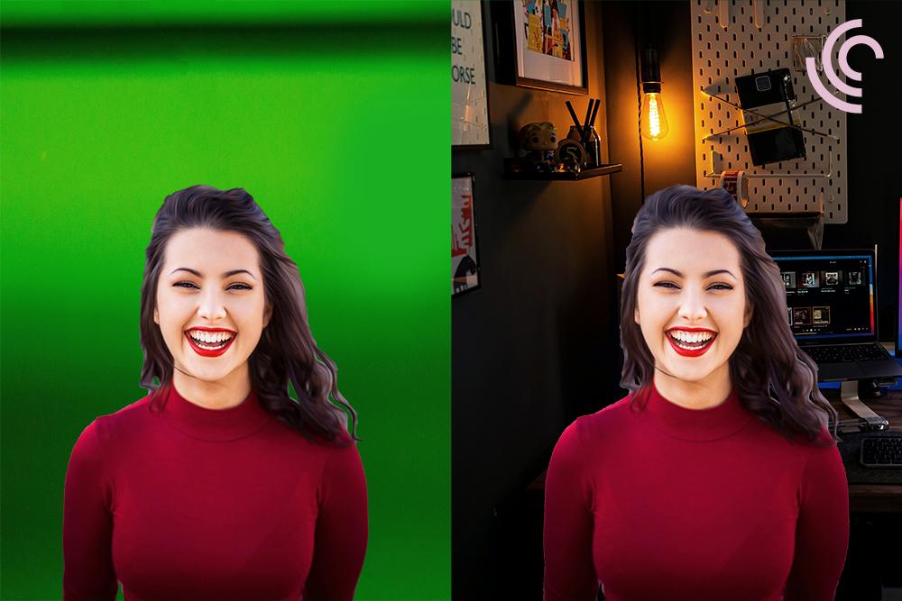 green screen innan och efter i Univid